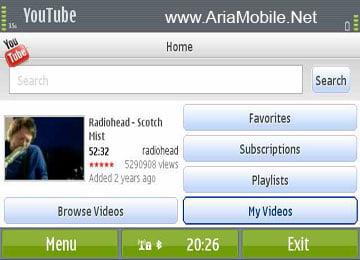 نرم افزار تماشای ویدیوهای سایت Youtube در گوشی YouTube v2.4.10 S60v3